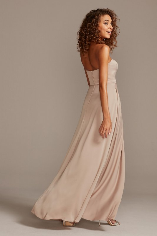 Strapless Long Satin F20097 Syle Bridesmaid Gown with Pockets
