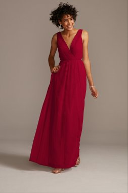 Long Tank V Neck A-line Net Bridesmaid Dress Style F20110