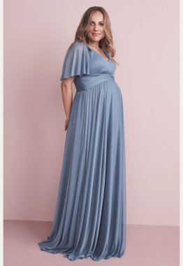 Flutter Sleeves Long Mesh Maternity F20167 Bridesmaid Dress