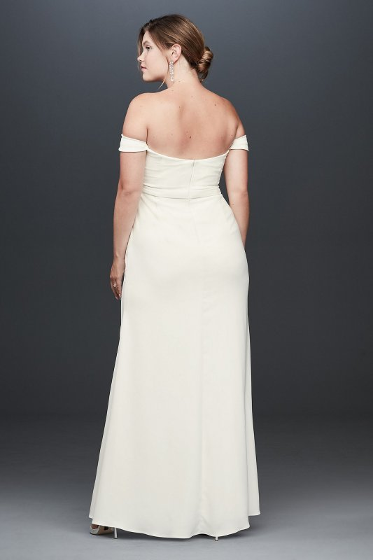 Long Off the Shoulder INT19673W Style Plus Size Crepe Gown for Brides
