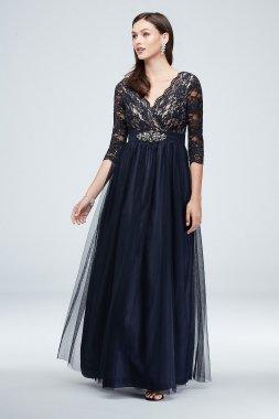 Embellishment Illusion Lace Occassion Gown Style JHDM4041 with Wrap Bodice