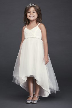 High Low Tulle Flower Girl Dress OP252 with Spaghetti Straps