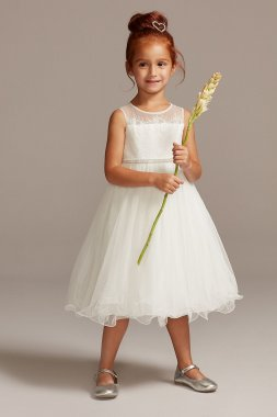 Crystal Sash Embellished OP267 Style Lace Bodice Flower Girl Dress
