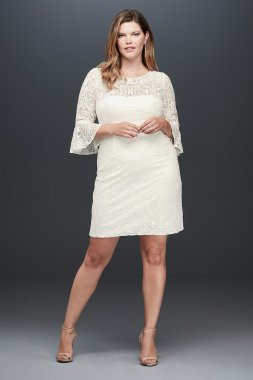 Short Plus Size Bell Sleeves Lace Dress SDWG0618W