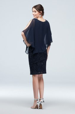 Cold Shoulder Cape and Ruffle Lace Dress V212637