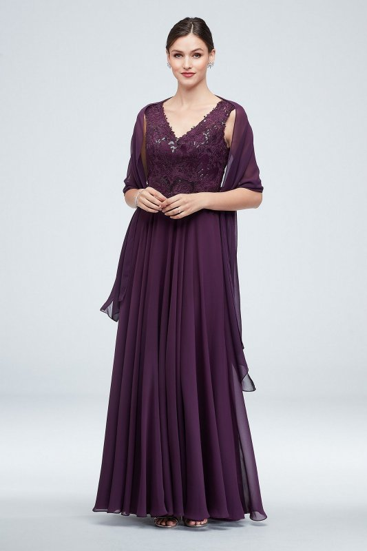 Long Embroidered VC7217 Style V-Neck Gown with Cap Sleeves