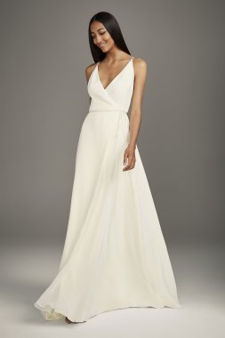 Floor Length VW351495 Style Crepe Wrap Gown with Jeweled Crisscross Low Back