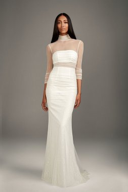 Ruched Illusion High-Neck Bandeau Sheath Bridal Gown Style VW351520