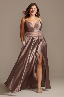 Satin Plunge Plus Size Gown with Illusion and Slit W43391Q96