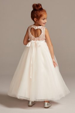 Heart Back Sequin and Tulle Flower Girl Gown WG1390
