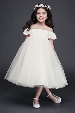 New WG1405 Style Flower Girl Dress with Cold Shoulder