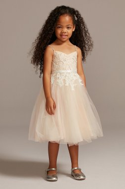 Spaghetti Strap Floral Applique Emebllished Flower Girl Dress WG1406