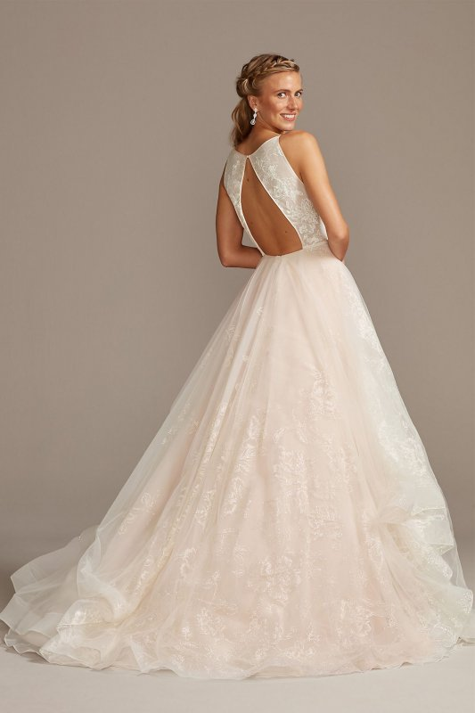 Sparkling Floral and Tulle Layered Wedding Dress WG3975