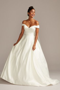 Elegant Off the Shoulder A-line Long Satin Bridal Dress Style WG3979