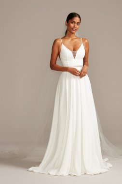 Spaghetti Straps Long A-line WG3985 Deep V Neck Crepe Wedding Dress