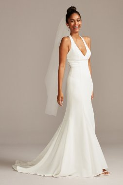 Sheer Back Crepe Wedding Dress with Lace Train WG3989