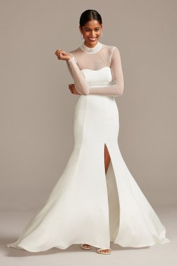 Illusion Long Sleeve and High Neck Long Fitted Crepe Wedding Gown Style WG3991
