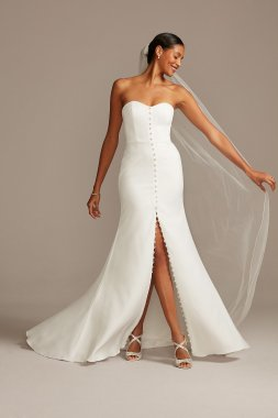 Button Front Strapless Mermaid Stretch Crepe WG3992 Wedding Dress