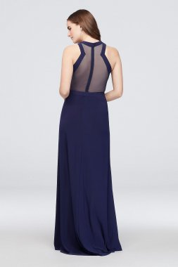 Clustered Crystal Sheath Dress with Illusion Back 12573