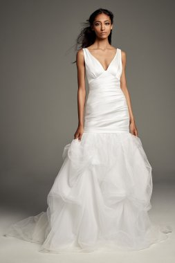 Mikado Wedding Dress with Tossed Tulle Skirt VW351458