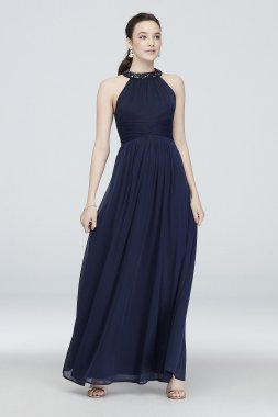 High-Neck Pleated A-Line Dress with Beading W60076