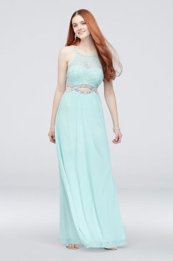 Crystal Cutouts and Lace High-Neck Dress X35706DHWR