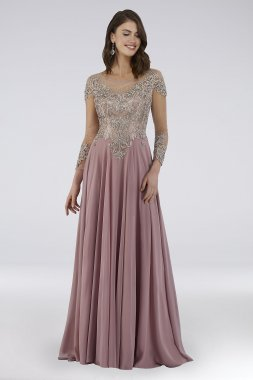 Beaded A-Line Gown with Long Illusion Sleeves 29749