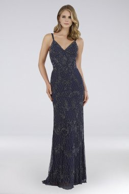 Charlie Beaded Mesh Gown with Sweep Train 29807
