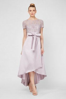 Short Sleeve Lace and Mikado High-Low Gown 7149120