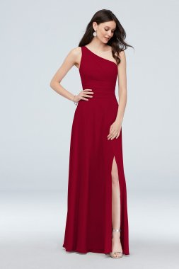 One-Shoulder Ruched Waist Chiffon Bridesmaid Dress F20043