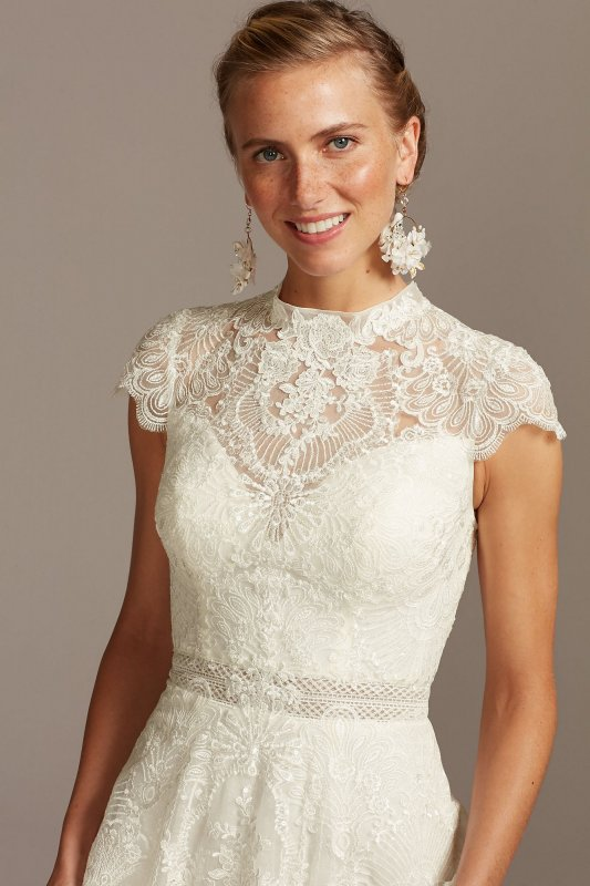 Embroidered Illusion Mock Neck Tall Wedding Dress Melissa Sweet 4XLMS251205