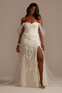 Removable Sleeves Plus Size Bodysuit Wedding Dress Galina Signature 9MBSWG881