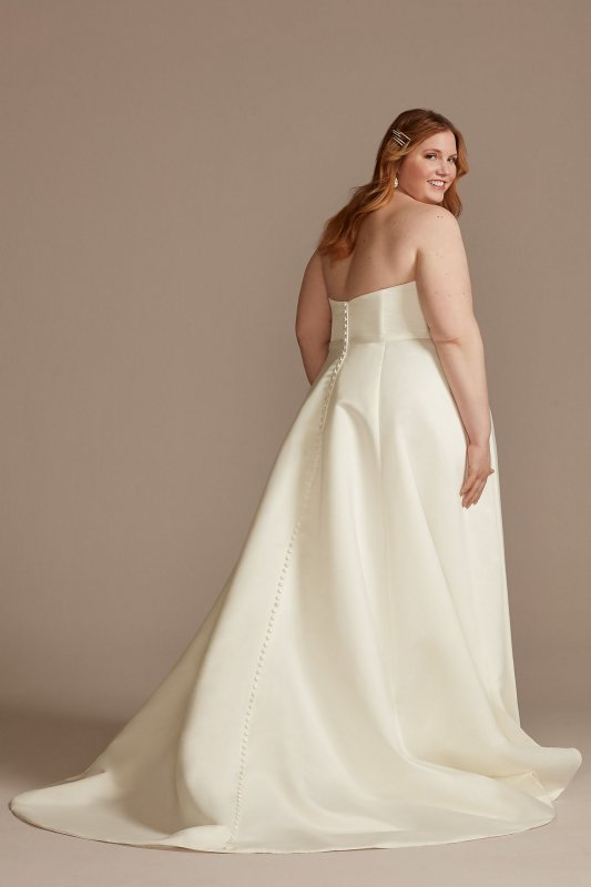 Strapless Plus Size Satin Wedding Dress with Slit DB Studio 9WG4017