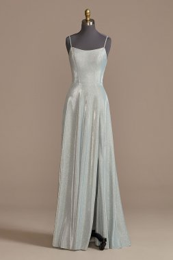 Spaghetti Strap Glitter Shine Gown with Slit David's Bridal D24NY013