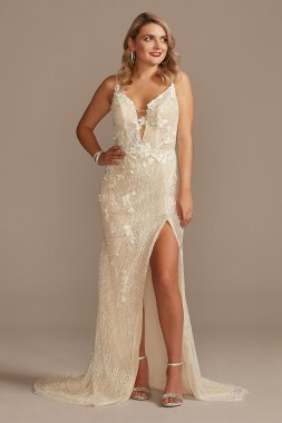 Beaded Plunge Wedding Dress with High Slit Galina Signature MBSWG887