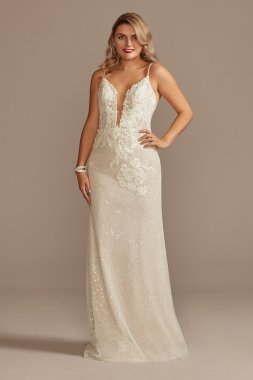 Sequin Applique Wedding Dress with Removable Train Galina Signature SWG882