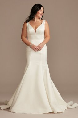 Plunge Mermaid Satin Wedding Dress with Buttons DB Studio WG4016