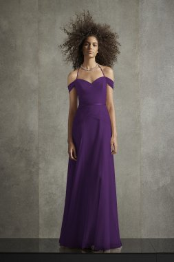 Pleated Bobbin Net Bridesmaid Dress with Tie Swags VW360517