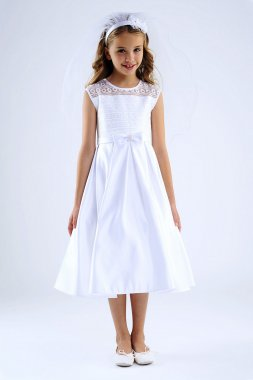 Sleeveless Embroidered Illusion Dress with Bow C5-371