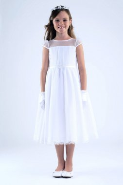 White As-Is Crinkle Chiffon Tea Length Flower Girl Gown