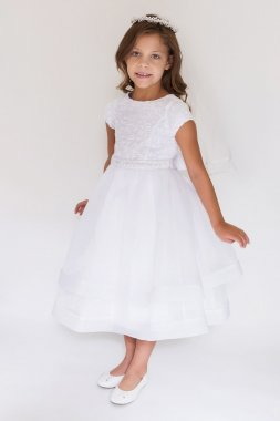 Double Layer Short Sleeve Organza and Lace Dress C5-381