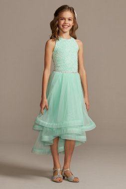 Ribbon-Trimmed Layered Tulle Flower Girl Dress Speechless SC259D40H908