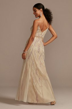 Beaded Overlay V-Neck Gown with Spaghetti Straps Jump 11655