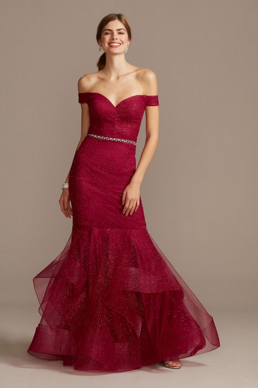 Off Shoulder Glitter Mesh Gown with Horsehair 1911P8366G