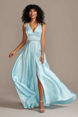 V-Neck Satin Split Skirt Gown with Crystal Belt 1990BN