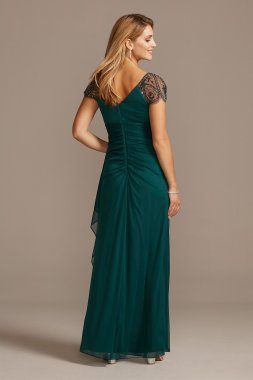 Embellished Chiffon Cap Sleeve Ruched Gown 2523X