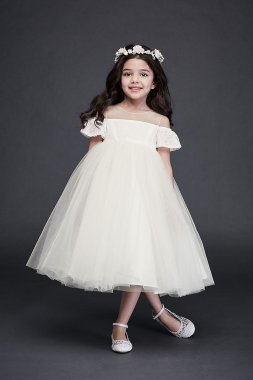 As Is Off the Shoulder Lace and Tulle Flower Girl AI17200346