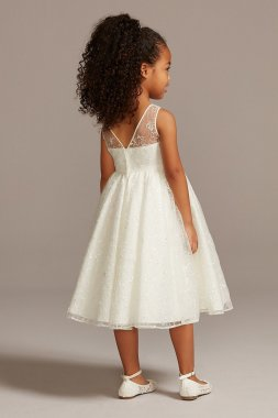 Allover Sequin Floral Lace Tank Flower Girl Dress OP266