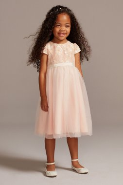Lace Overlay Cap Sleeve Flower Girl Dress UF271