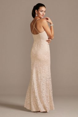 Corded Metallic Lace Cross Back Mermaid Gown WBM1856